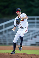 Danville Braves starting pitcher Ian Anderson (12) in action against the Burlington Royals at American Legion Post 325 Field on August 16, 2016 in Danville, Virginia.  The game was suspended due to a power outage with the Royals leading the Braves 4-1.  (Brian Westerholt/Four Seam Images)