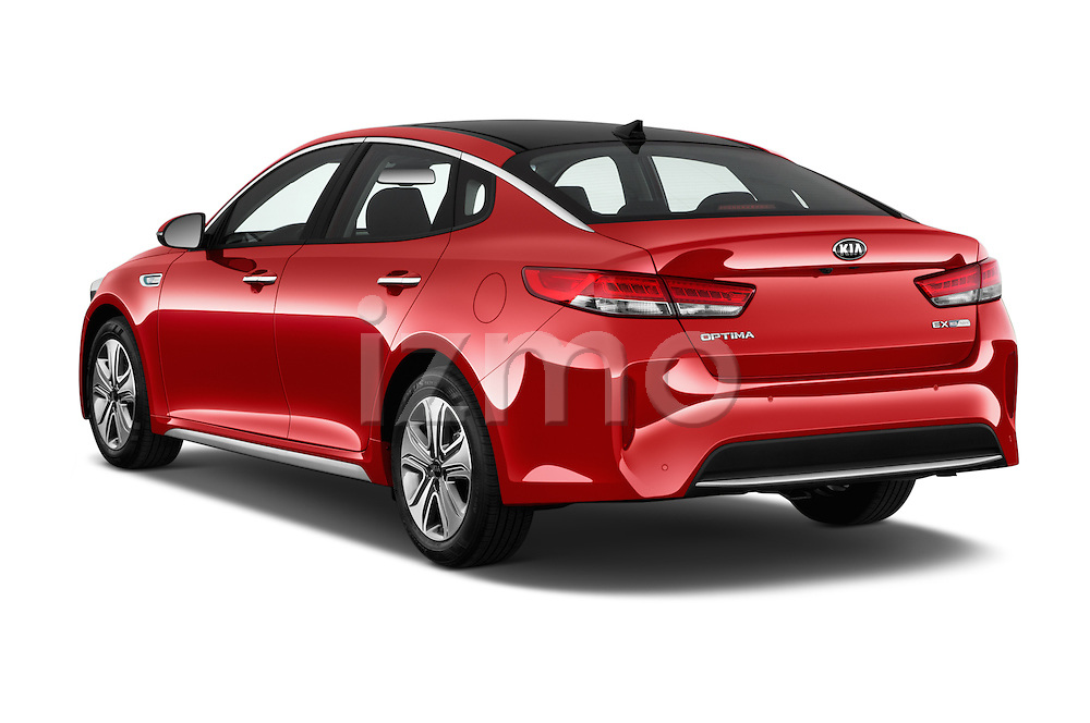 Car pictures of rear three quarter view of 2018 KIA Optima EX-Hybrid 4 Door Sedan Angular Rear