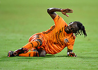 LAKE BUENA VISTA, FL - JULY 18: Alberth Elis #7 of the Houston Dynamo reacts to getting called for a foul as he tries to run onto a pass during a game between Houston Dynamo and Portland Timbers at ESPN Wide World of Sports on July 18, 2020 in Lake Buena Vista, Florida.