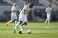 LOS ANGELES, CA - APRIL 17: Jhohan Romaña #3 of Austin FC moves with the ball during a game between Austin FC and Los Angeles FC at Banc of California Stadium on April 17, 2021 in Los Angeles, California.