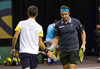 Rotterdam, The Netherlands, 3 march  2021, ABNAMRO World Tennis Tournament, Ahoy, First round doubles: Henri Kotinen (FIN) / Edouard Roger-Vasselin (FRA).<br /> Photo: www.tennisimages.com/