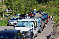 Pictured: Cars parked by the A470 near Storey Arms in the Brecon Beacons, Wales, UK. Sunday 13 June 2021<br /> Re: High temperatures and sunshine has been forecast for most of the UK.