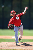 Washington Nationals pitcher Nick Lee (35) during a minor league spring training game against the Atlanta Braves on March 26, 2014 at Wide World of Sports in Orlando, Florida.  (Mike Janes/Four Seam Images)