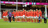 Pictured: The Wales squad sing their national anthem Sunday 20 September 2015<br />Re: Rugby World Cup 2015, Wales v Uruguay at the Millennium, Stadium, Wales, UK