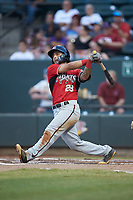 Eddie Silva (28) of the Carolina Mudcats follows through on his swing against the Winston-Salem Dash at BB&T Ballpark on June 1, 2019 in Winston-Salem, North Carolina. The Dash defeated the Mudcats 5-4 in game two of a double header. (Brian Westerholt/Four Seam Images)
