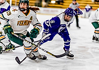 16 February 2019: Holy Cross Crusader Forward Katie MacCuaig, a Sophomore from Massena, NY, in action against the University of Vermont Catamounts at Gutterson Fieldhouse in Burlington, Vermont. The Lady Cats defeated the Crusaders 4-1 to sweep their 2-game weekend series. Mandatory Credit: Ed Wolfstein Photo *** RAW (NEF) Image File Available ***