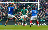 Sunday10th March 2019 | Ireland vs France<br /> <br /> Jordan Larmour chips the ball over the French defence during the Guinness 6 Nations clash between Ireland and France at the Aviva Stadium, Lansdowne Road, Dublin, Ireland. Photo by John Dickson / DICKSONDIGITAL