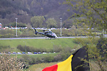 TV helicopter signals the arrival of the riders on the climb of the Cote de la Redoute during the 98th edition of Liege-Bastogne-Liege, running 257.5km from Liege to Ans, Belgium. 22nd April 2012.  <br /> (Photo by Eoin Clarke/NEWSFILE).