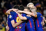 FC Barcelona squad celebrating their opening goal during the Copa Del Rey 2017-18 match between FC Barcelona and Valencia CF at Camp Nou Stadium on 01 February 2018 in Barcelona, Spain. Photo by Vicens Gimenez / Power Sport Images