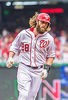 30 August 2015: Washington Nationals outfielder Jayson Werth rounds the bases after hitting a two-run homer in the 3rd inning against the Miami Marlins at Nationals Park in Washington, DC. The Nationals rallied to defeat the Marlins 7-4 in the third game of their 3-game weekend series. Mandatory Credit: Ed Wolfstein Photo *** RAW (NEF) Image File Available ***