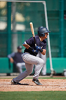 GCL Yankees West catcher Anthony Seigler (11) follows through on a swing during the first game of a doubleheader against the GCL Braves on July 30, 2018 at Champion Stadium in Kissimmee, Florida.  GCL Yankees West defeated GCL Braves 7-5.  (Mike Janes/Four Seam Images)