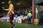 Motherwell 3 Dundee 1, 12/12/2015. Fir Park, Scottish Premiership. Home spectators watching the first-half action as Motherwell (in amber) play Dundee in a Scottish Premiership fixture at Fir Park. Formed in 1886, the  home side has played at Fir Park since 1895. Motherwell won the match by three goals to one, watched by a crowd of 3512 spectators. Photo by Colin McPherson.