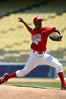August 9 2008: Keyvius Sampson participates in the Aflac All American baseball game for incoming high school seniors at Dodger Stadium in Los Angeles,CA.  Photo by Larry Goren/Four Seam Images