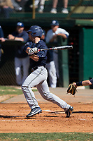 Austin Turgeon (2) of the Wingate Bulldogs follows through on his swing against the Catawba Indians at Newman Park on March 19, 2017 in Salisbury, North Carolina. The Indians defeated the Bulldogs 12-6. (Brian Westerholt/Four Seam Images)
