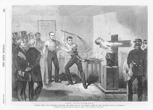 George Smith a garrotter receives the sixth of thirty lashes of the cat-o'-nine- tails / The day's doings vol 3 , 6 January 1872 page 402 / 1872