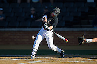Ben Breazeale (9) of the Wake Forest Demon Deacons at bat against the Florida State Seminoles at David F. Couch Ballpark on April 16, 2016 in Winston-Salem, North Carolina.  The Seminoles defeated the Demon Deacons 13-8.  (Brian Westerholt/Four Seam Images)