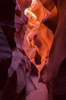 Sculpted sandstone inside Antelope slot canyon, Arizona.