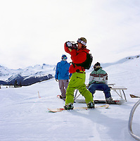 Snowboarding on Whistler Mountain, Whistler Ski Resort, BC, British Columbia, Canada