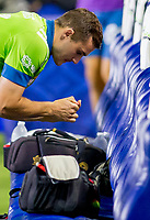 CARSON, CA - SEPTEMBER 27: Jordan Morris #13 of the Seattle Sounders prepares his insulin during a game between Seattle Sounders FC and Los Angeles Galaxy at Dignity Heath Sports Park on September 27, 2020 in Carson, California.