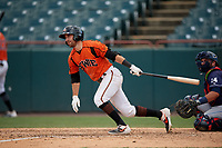 Bowie Baysox Mason McCoy (5) bats during an Eastern League game against the Binghamton Rumble Ponies on August 21, 2019 at Prince George's Stadium in Bowie, Maryland.  Bowie defeated Binghamton 7-6 in ten innings.  (Mike Janes/Four Seam Images)