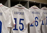 Commerce City, CO - April 5, 2014: The US women's national team debuted the new Nike uniforms during their  international friendly against China at Dick's Sporting Goods Park.