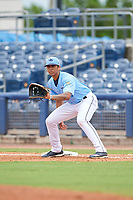 Charlotte Stone Crabs first baseman Kaleo Johnson (10) during a Florida State League game against the Bradenton Maruaders on August 7, 2019 at Charlotte Sports Park in Port Charlotte, Florida.  Charlotte defeated Bradenton 2-0 in the first game of a doubleheader.  (Mike Janes/Four Seam Images)