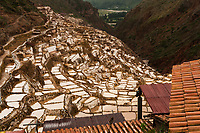 The salt ponds of Maras Peru are at about 10,000 feet elevation but were once at the sea floor. A small spring trickles salt water into almost 5,000 ponds maintained by a local farming cooperative. The water is cut off when the pond is a few inches deep and is then allowed to dry in the Peruvian sun. It is then shipped world wide for use in fine restaurants and by culinary chefs.