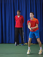 21-02-2014, Netherlands, Eemnes,  Michiel Schapers(NED), Coach with Michael Borg (NED)<br /> Photo: Henk Koster