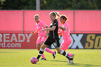 Gemma Davison (16) of the Western New York Flash is marked by Casey Nogueira (27) of Sky Blue FC. The Western New York Flash defeated Sky Blue FC 2-0 during a Women's Professional Soccer (WPS) match at Yurcak Field in Piscataway, NJ, on July 17, 2011.