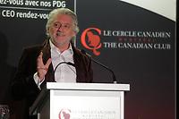Le Président et Fondateur du Festival Juste Pour Rire Gilbert Rozon à la tribune du Cercle canadien de Montréal, le 10 Octobre 2015