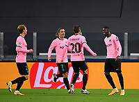 Football Soccer: UEFA Champions League -Group Stage-  Group G - Juventus vs FC Barcellona, Allianz Stadium. Turin, Italy, October 28, 2020.<br /> Barcellona's Osumane Dembele' (r) celebrates after scoring with his teammates  during the Uefa Champions League football soccer match between Juventus and Barcellona at Allianz Stadium in Turin, October 28, 2020.<br /> UPDATE IMAGES PRESS/Isabella Bonotto
