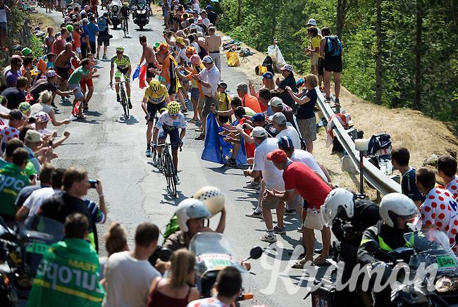 The 3 tenors Nairo Quintana (COL/Movistar), Chris Froome (GBR/SKY) & Alberto Contador (ESP/Tinkoff-Saxo) fighting it out up the Cote de la Croix Neuve (2C/1055m/3km/10.1%)<br /> <br /> stage 14: Rodez - Mende (178km)<br /> 2015 Tour de France