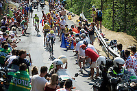 The 3 tenors Nairo Quintana (COL/Movistar), Chris Froome (GBR/SKY) & Alberto Contador (ESP/Tinkoff-Saxo) fighting it out up the Cote de la Croix Neuve (2C/1055m/3km/10.1%)<br /> <br /> stage 14: Rodez - Mende (178km)<br /> 2015 Tour de France