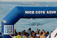 The swim course takes place in the Mediterranean at Ironman France 2012, Nice, France, 24 June 2012