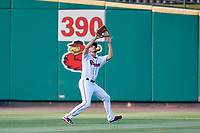 Rochester Red Wings left fielder Zack Granite (2) settles under a fly ball during a game against the Lehigh Valley IronPigs on June 30, 2018 at Frontier Field in Rochester, New York.  Lehigh Valley defeated Rochester 6-2.  (Mike Janes/Four Seam Images)