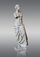 "Venus de Milo ( Aphrodite of Milos ) A 203 cm (6 ft 8 in)  marble statue from the Greek Island of Milos sculpted in 130 and 100 BC thought to be the work of Alexandros of Antioch;. Louvre Museum, Paris. <br /> The Aphrodite of Milos was discovered on 8 April 1820 by a peasant named Yorgos Kentrotas, inside a buried niche within the ancient city ruins of Milos, the current village of Tripiti, on the island of Milos  in the Aegean, which was then a part of the Ottoman Empire. The statue was purchase by the French ambassador to Turkey and it was shipped to France. Legend has it that the statues arms were broken off during transport but this story however proved to be a fabrication – Voutier's drawings of the statue when it was first discovered show that its arms were already missing.<br /> <br /> In 1815, France had returned the Medici Venus,  to the Italians after it had been looted from Italy by Napoleon Bonaparte. The Medici Venus, regarded as one of the finest Classical sculptures in existence, caused the French to promote the Venus de Milo as a greater treasure than that which they recently had lost. The de Milo statue was praised dutifully by many artists and critics as the epitome of graceful female beauty. However, Pierre-Auguste Renoir was among its detractors, labeling it a ""big gendarme""."