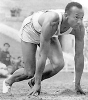 1936, Berlin Olympic Stadium, Berlin, Germany; Jesse Owens starts in the 100 metres final at the Olympic Games Berlin 1936!