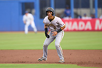 Bradenton Marauders Endy Rodriguez (5) leads off first base during a game against the Dunedin Blue Jays on June 5, 2021 at TD Ballpark in Dunedin, Florida.  (Mike Janes/Four Seam Images)