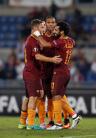 Calcio, Europa League: Roma vs Astra Giurgiu. Roma, stadio Olimpico, 29 settembre 2016.<br /> Roma's Mohamed Salah, right, celebrates with his teammates Francesco Totti, left, and Juan Jesus, after scoring during the Europa League Group E soccer match between Roma and Astra Giurgiu at Rome's Olympic stadium, 29 September 2016. Roma won 4-0.<br /> UPDATE IMAGES PRESS/Isabella Bonotto
