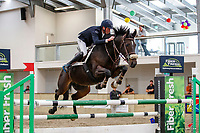 NZL-Scott Borland rides SB Smokescreen. Class 31: Land Rover Horse 1.20m-1.25m 10K - FINAL. 2021 NZL-Easter Jumping Festival presented by McIntosh Global Equestrian and Equestrian Entries. NEC Taupo. Sunday 4 April. Copyright Photo: Libby Law Photography