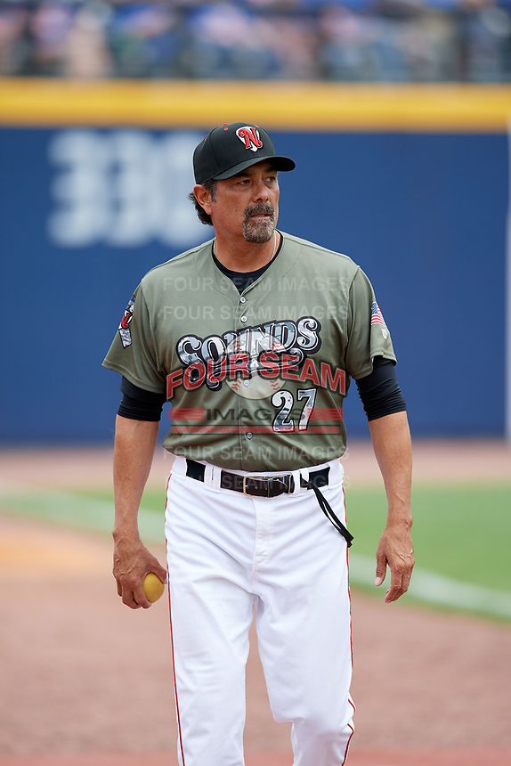 Nashville Sounds pitching coach Rick Rodriguez (27) before a game against the New Orleans Baby Cakes on April 30, 2017 at First Tennessee Park in Nashville, Tennessee.  The game was postponed due to inclement weather in the fourth inning.  (Mike Janes/Four Seam Images)