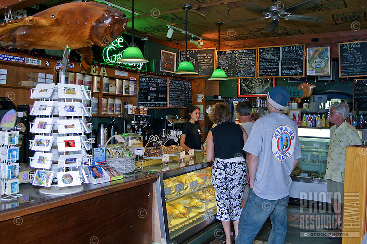 """Shoppers stop for a little """"""""pick me up"""""""" at the Coffee Gallery. Gallery features a variety of kona coffees as well as international coffee blends and gifts.Located in the North Shore Marketplace in the town of Haleiwa on Oahu's north shore."""