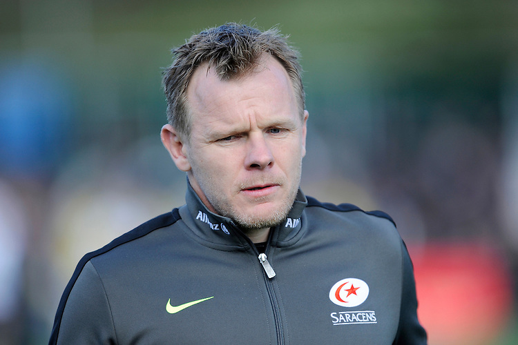 Mark McCall, Saracens Director of Rugby during the Aviva Premiership Rugby match between Saracens and Leicester Tigers at Allianz Park on Saturday 11th April 2015 (Photo by Rob Munro)