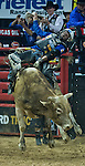 October 25, 2014: Ryan Dirteater rides More Big Bucks during the PBR Pro Bull Riding Finals at the Thomas and Mack Arena in Las Vegas, Nevada on October 25, 2014. Scott Serio/ESW/CSM