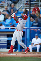 Clearwater Threshers Cornelius Randolph (2) at bat during a game against the Dunedin Blue Jays on April 8, 2017 at Florida Auto Exchange Stadium in Dunedin, Florida.  Dunedin defeated Clearwater 12-6.  (Mike Janes/Four Seam Images)