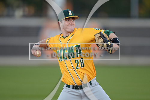 Siena Saints infielder Brian Fay (28) during warmups before the season opening game against the Central Florida Knights at Jay Bergman Field on February 14, 2014 in Orlando, Florida.  UCF defeated Siena 8-1.  (Copyright Mike Janes Photography)