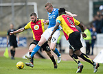 St Johnstone v Partick Thistle…13.05.17     SPFL    McDiarmid Park<br />Brian Easton gets between Christie Elliott and Abdul Osman<br />Picture by Graeme Hart.<br />Copyright Perthshire Picture Agency<br />Tel: 01738 623350  Mobile: 07990 594431