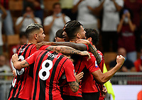 Calcio, Serie A: AC Milan - Cagliari calcio, Giuseppe Meazza (San Siro) stadium, Milan on August 29, 2021.  <br /> Milan's Olivier Giroud (r) celebrates after scoring with his teammates during the Italian Serie A football match between Milan and Cagliari at Giuseppe Meazza stadium, on August 29, 2021.  <br /> UPDATE IMAGES PRESS/Isabella Bonotto
