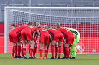 team Belgium pictured before a friendly female soccer game between the national teams of Germany and  Belgium , called the Red Flames  in a pre - bid tournament called Three Nations One Goal with the national teams from Belgium , The Netherlands and Germany towards a bid for the hosting of the 2027 FIFA Women's World Cup , on Sunday 21 st of February 2021  in Aachen , Germany . PHOTO SPORTPIX.BE   SPP   STIJN AUDOOREN