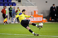 Louisville Cardinals goalkeeper Andre Boudreaux (30). Connecticut defeated Louisville 1-0 during the first semifinal match of the Big East Men's Soccer Championships at Red Bull Arena in Harrison, NJ, on November 11, 2011.